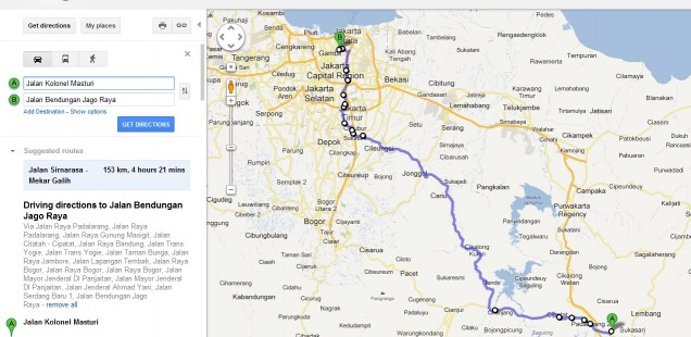 Rute Google Maps Cimahi - Jonggol